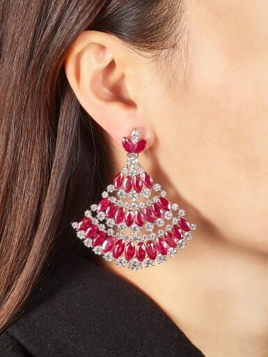 View 1. Thumbnail of Lot 1018. Pair of Ruby and Diamond Earrings | 格拉夫| 紅寶石 配 鑽石 耳墜一對 (紅寶石及鑽石共重約49.20及23.30克拉).
