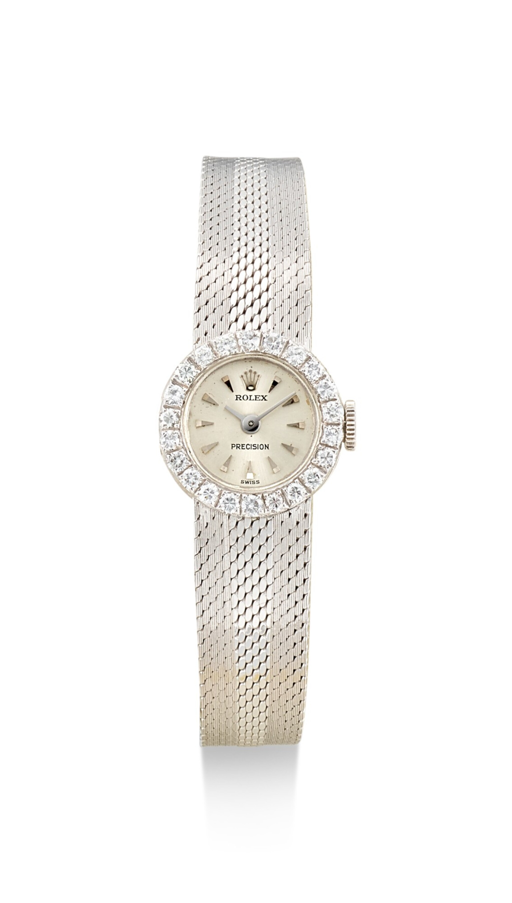 ROLEX | LADY PRECISION, REFERENCE 2166, A WHITE GOLD AND DIAMOND-SET BRACELET WATCH, CIRCA 1968