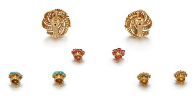 View 4. Thumbnail of Lot 9142. PAIR OF GEM SET AND DIAMOND EARCLIPS, CARTIER | 寶石 配 鑽石 耳環一對, 卡地亞(Cartier).
