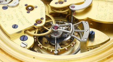 View 8. Thumbnail of Lot 85. AN IMPRESSIVE AND EXCEPTIONAL LARGE YELLOW GOLD OPEN-FACED MINUTE REPEATING SPLIT-SECOND CHRONOGRAPH WATCH WITH ONE MINUTE TOURBILLON AND 60-MINUTE REGISTER, 1931, SOLD TO J.P. MORGAN JR. IN 1933.