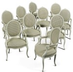 SET OF TEN GEORGE III STYLE DINING ROOM ARMCHAIRS IN THE FRENCH TASTE