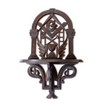 FINE AND RARE CARVED PINE MASONIC HANGING WALL SHELF, AMERICA, LATE 19TH CENTURY