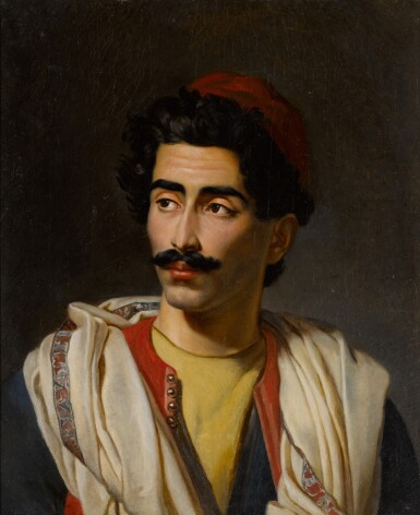 "View 2. Thumbnail of Lot 124. Portrait of a man in a red hat, said to be a ""jeune Grec"" or possibly Hassan el Berberi."