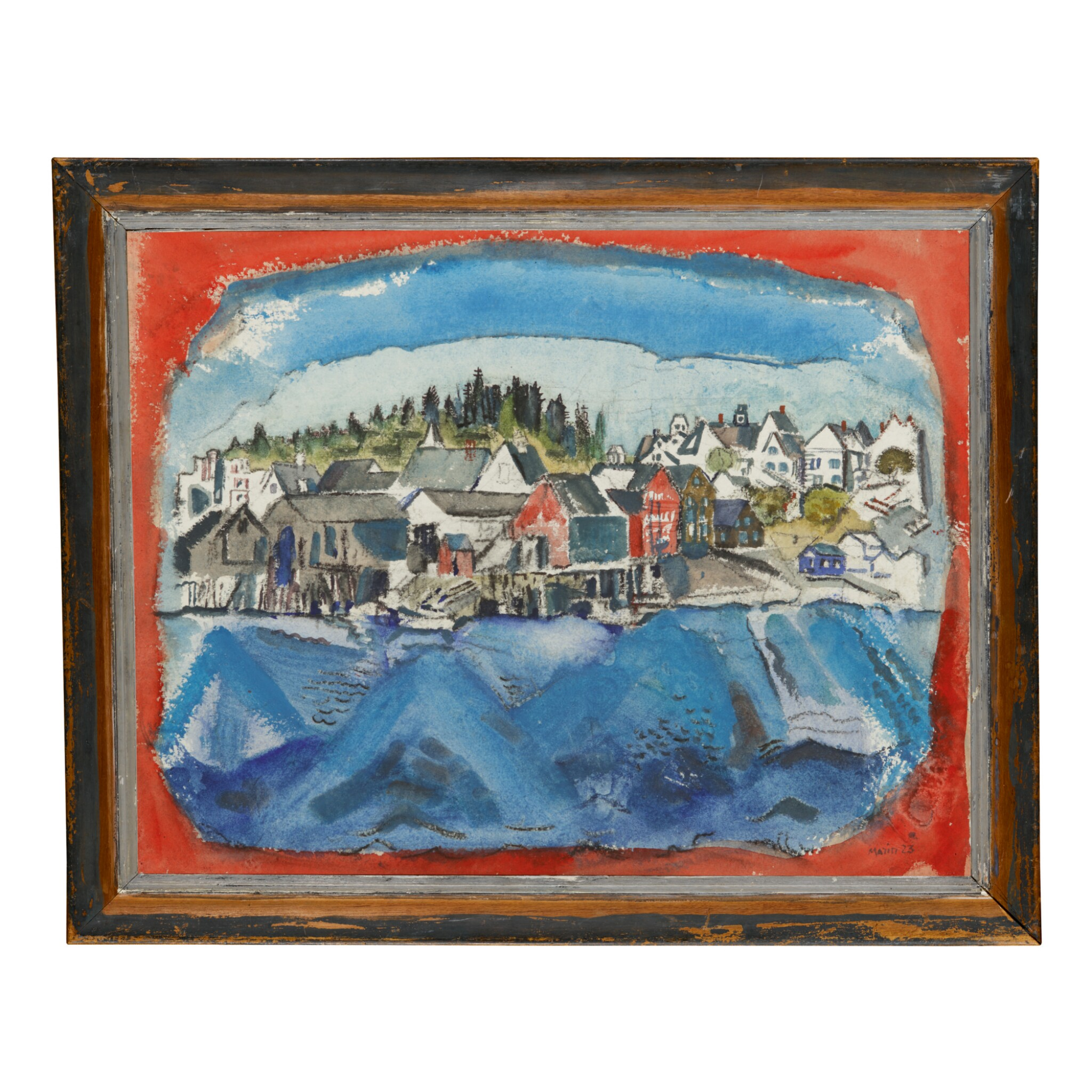 View full screen - View 1 of Lot 21. JOHN MARIN | STONINGTON WHARF, NO. 1 (RED AND BLUE, MAINE).