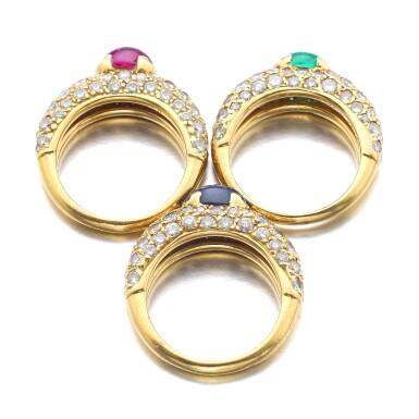 View 3. Thumbnail of Lot 1074. Three gem set and diamond rings.