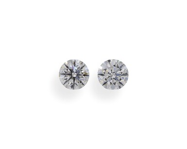 A Pair of 0.50 Carat Round Diamonds, D Color, SI1 Clarity