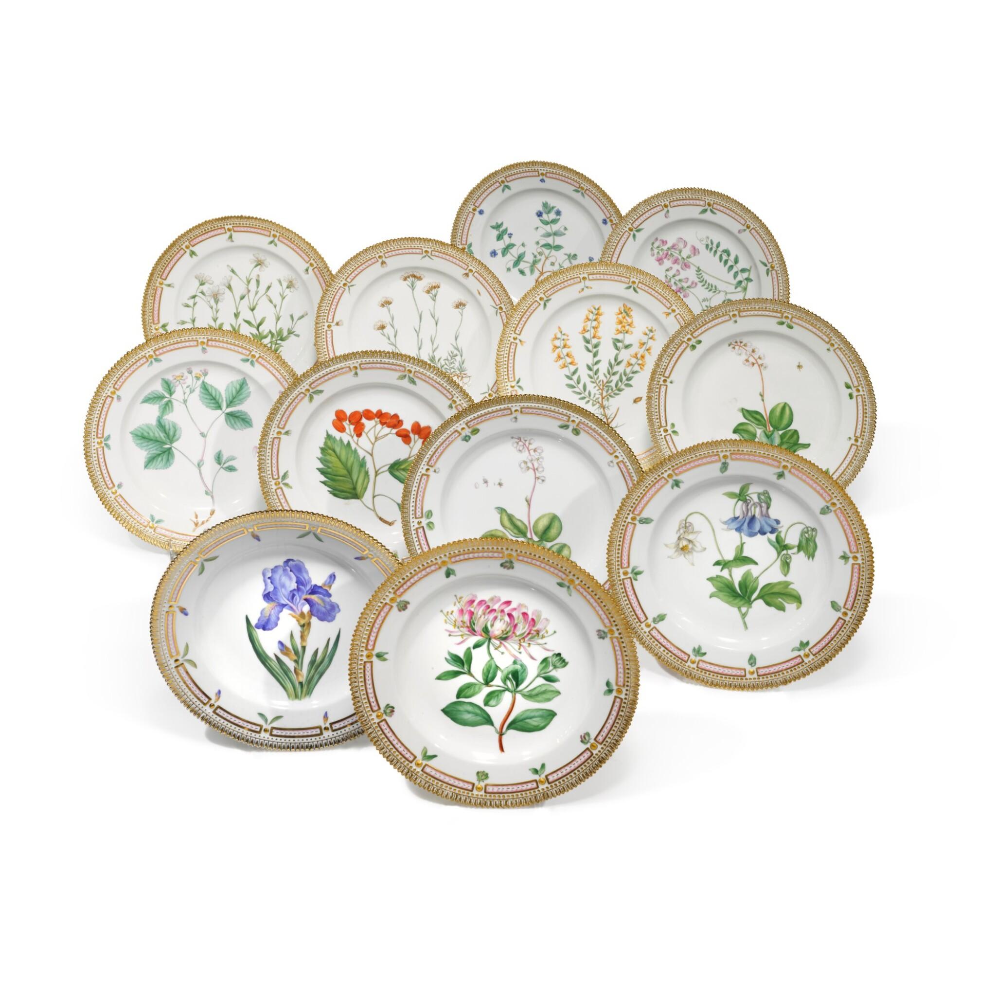 View full screen - View 1 of Lot 89. A Set of Twelve Royal Copenhagen 'Flora Danica' Dinner Plates, Modern.