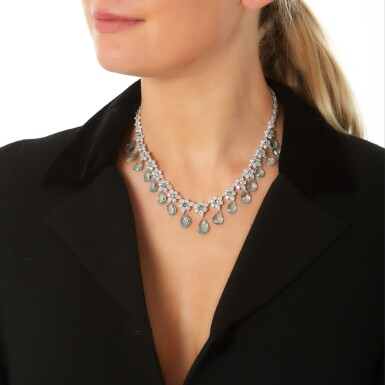 View 4. Thumbnail of Lot 290. MICHELE DELLA VALLE | AQUAMARINE AND DIAMOND NECKLACE.