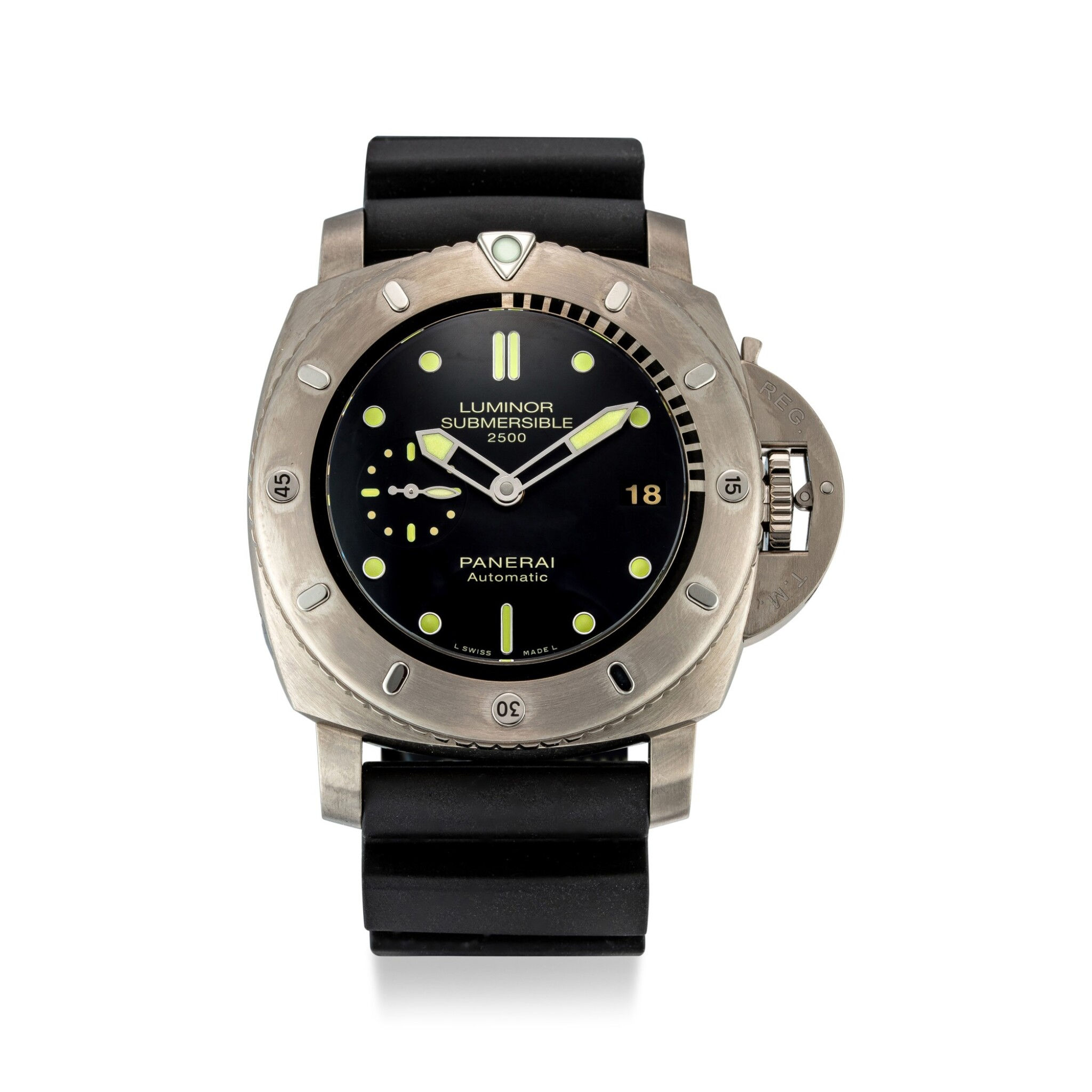 View full screen - View 1 of Lot 356. PANERAI   LUMINOR SUBMERSIBLE, REFERENCE PAM 364 A TITANIUM WRISTWATCH WITH DATE, CIRCA 2013.
