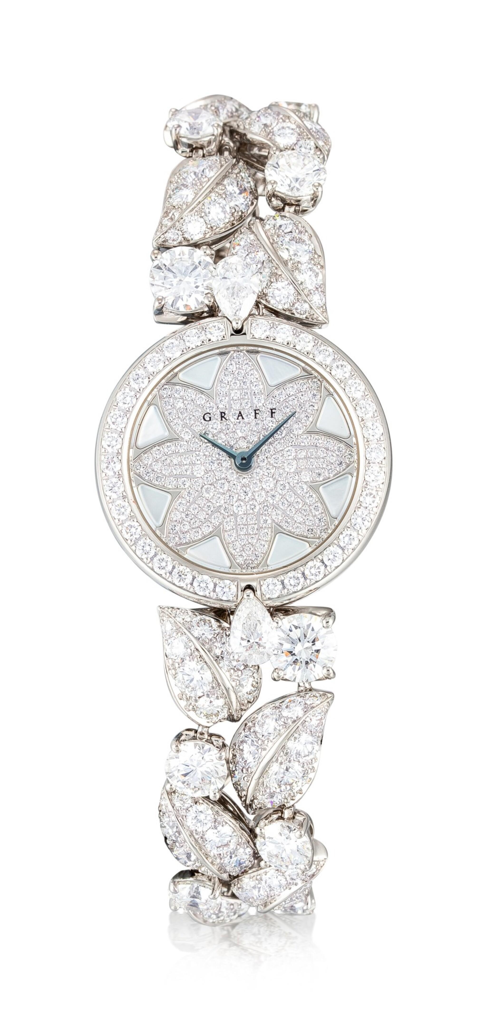View full screen - View 1 of Lot 1057. 'Graff Leaf' Reference GL25WGDDDD, Limited Edition White Gold and Diamond-Set Wristwatch, Number 1   格拉夫  Graff Leaf編號GL25WGDDDD,限量版白金鑲鑽石腕表,編號1,約2010年製.