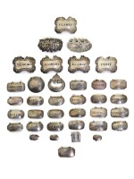 A COLLECTION OF THIRTY-SIX SILVER BOTTLE LABELS, VARIOUS MAKERS, LONDON AND BIRMINGHAM, CIRCA 1770-1896