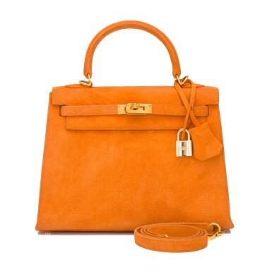 Hermès Orange H Doblis Sellier Kelly 25cm