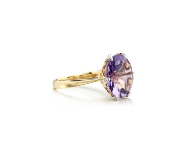 View 2. Thumbnail of Lot 6. AMETHYST AND DIAMOND RING.