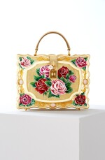 Enamel Flower Embellished Limited Edition Box Bag in Golden Hand-Painted Wood with Vintage Plated Brass Hardware, Spring/Summer 2021