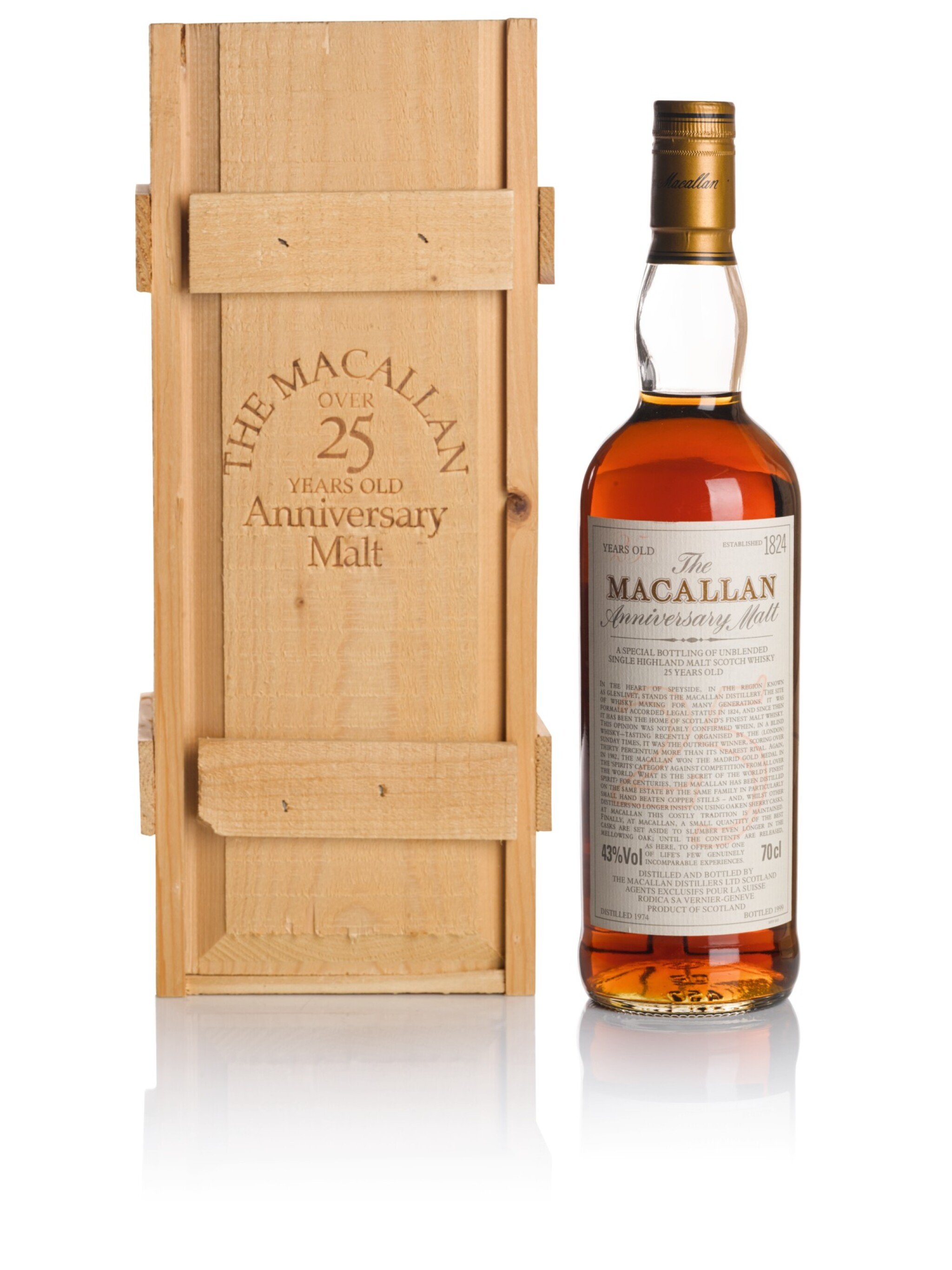 View full screen - View 1 of Lot 38. THE MACALLAN 25 YEAR OLD ANNIVERSARY MALT 43.0 ABV 1974 .