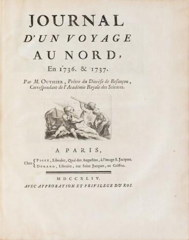View 3. Thumbnail of Lot 171. OUTHIER R. Journal d'un voyage au Nord en 1736 et 1737. Paris, 1744. In-4 veau fauve de l'époque.