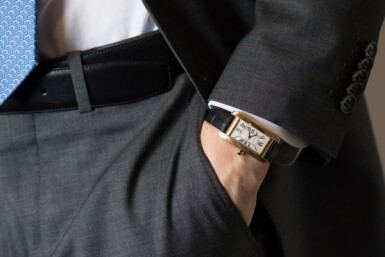 View 4. Thumbnail of Lot 101. CARTIER   TANK AMERICAINE, REF 1725 YELLOW GOLD WRISTWATCH WITH DATE CIRCA 1995.