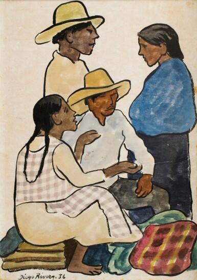 View 1. Thumbnail of Lot 52. Grupo en el mercado: dos hombres y dos mujeres.