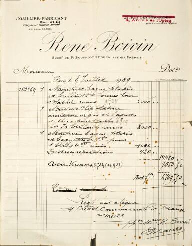 View 4. Thumbnail of Lot 317. RENÉ BOIVIN   SAPPHIRE AND DIAMOND BROOCH, 1939.