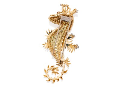 View 2. Thumbnail of Lot 52. SCHLUMBERGER FOR TIFFANY & CO. | PERIDOT, DIAMOND AND RUBY CLIP-BROOCH.