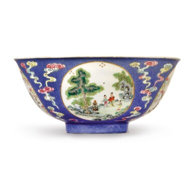 View 1. Thumbnail of Lot 553.  A BLUE-GROUND FAMILLE-ROSE SGRAFFIATO 'MEDALLION' BOWL,  DAOGUANG SEAL MARK AND PERIOD.