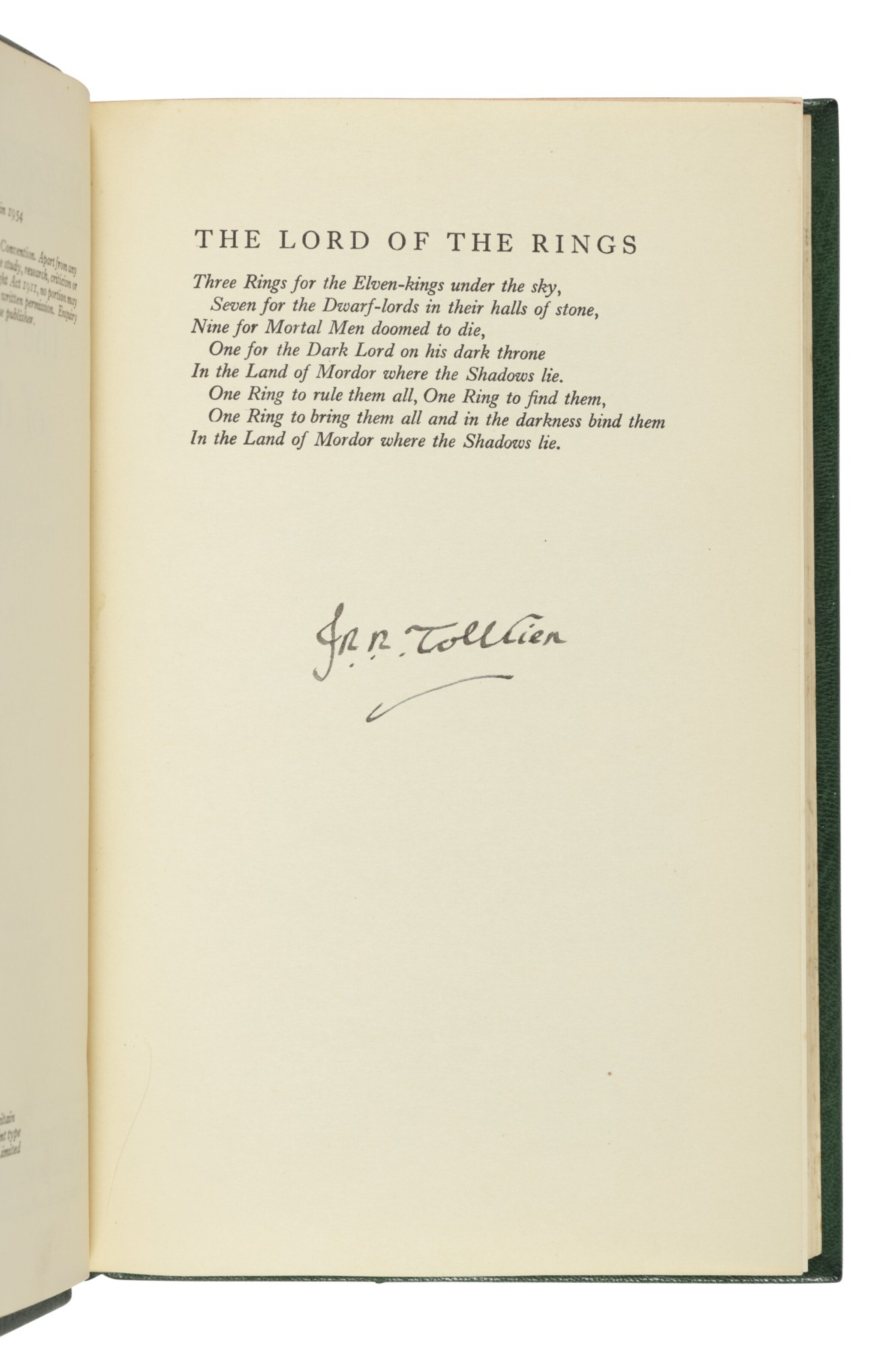 View full screen - View 1 of Lot 264. Tolkien, J.R.R. | The Lord of the Rings Trilogy, uniformly and handsomely bound.