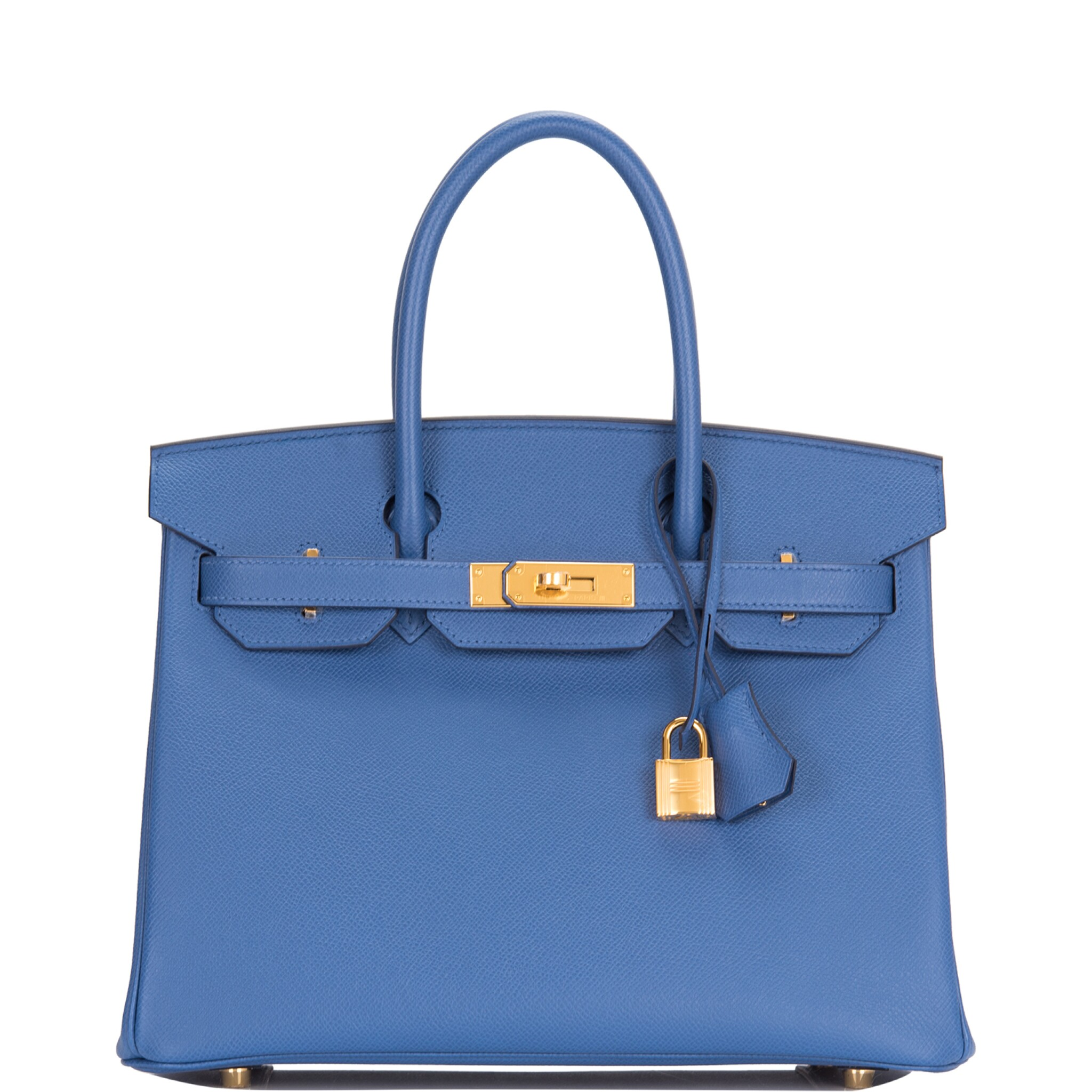 View full screen - View 1 of Lot 9. Hermès Bleu Brighton Birkin 30cm of Epsom Leather with Gold Hardware.