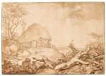 ABRAHAM BLOEMAERT | A THATCHED SHED IN A HILLY REGION: A WOODCUTTER AND RESTING PEASANTS IN THE FOREGROUND