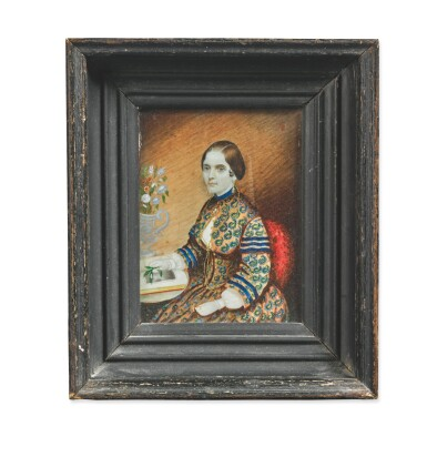 ATTRIBUTED TO MRS. MOSES B. RUSSELL (CLARISSA PETERS) | MINIATURE SELF-PORTRAIT OF CLARISSA PETERS