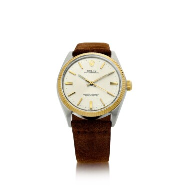 REFERENCE 1005 OYSTER PERPETUAL A STAINLESS STEEL AND YELLOW GOLD AUTOMATIC WRISTWATCH, CIRCA 1971