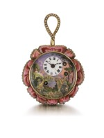 'THE ROSE'  PIGUET & MEYLAN | AN EXCEPTIONAL GOLD AND ENAMEL ROSE-FORM TWO-TRAIN MUSICAL AUTOMATON WATCH WITH CENTRE SECONDS, PLAYING ON THE HOUR AND ON REQUEST, MADE FOR THE CHINESE MARKET  CIRCA 1820, NO. 3568