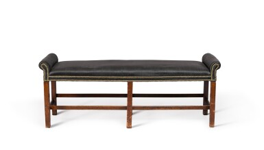 View 3. Thumbnail of Lot 82. A pair of George III mahogany two-seat benches, circa 1800.