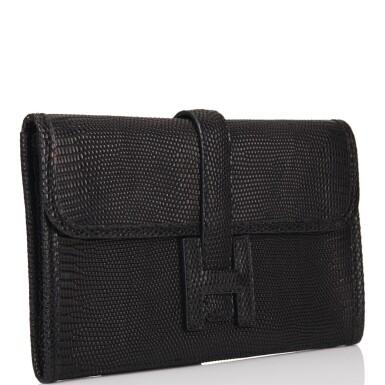 Hermès Black Jige Mini 20cm of Matte Varanus Salvator Lizard