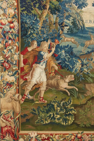 View 2. Thumbnail of Lot 91. A Flemish mythological tapestry, Brussels or Antwerp workshop, circa 1700-1720, possibly from the Story of Diana, after designs by Louis van Schoor and Pieter Spierinckx.