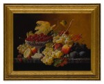 SEVERIN ROESEN | STILL LIFE OF FRUIT WITH COMPOTE OF STRAWBERRIES AND STILL LIFE WITH FRUIT AND EMBROIDERED CLOTH: A PAIR OF WORKS