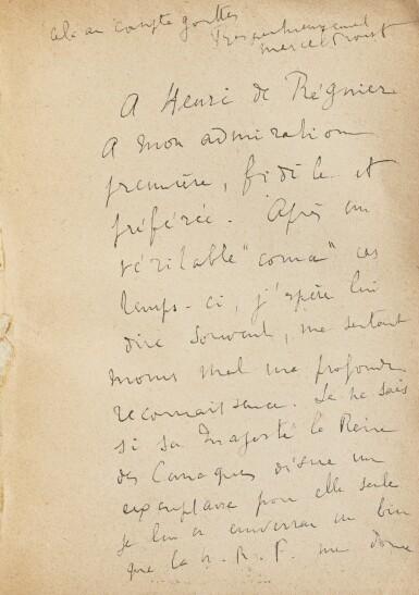 View 5. Thumbnail of Lot 301. Le Côté de Guermantes + Sodome et Gomorrhe. 2 éd. orig., chacune avec long envoi à Henri de Régnier..