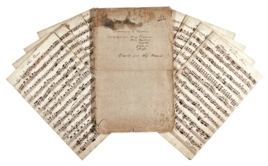 View 1. Thumbnail of Lot 66. W. A. Mozart. Contemporary scribal parts for the Piano Concerto in C, K. 415 (387b), 18th century.