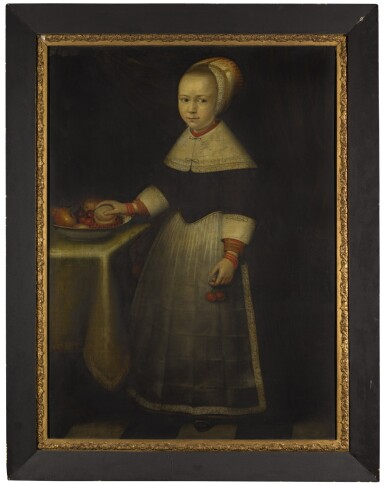 CIRCLE OF JAN ALBERTSZ. ROTIUS | Portrait of a girl, full-length, holding cherries, a bowl of fruit on a table beside her