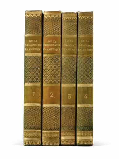View 1. Thumbnail of Lot 179. De la démocratie en Amérique. 1835-1840. 4 vol. Rare en reliure époque. Ex-Libris Georges Pompidou..