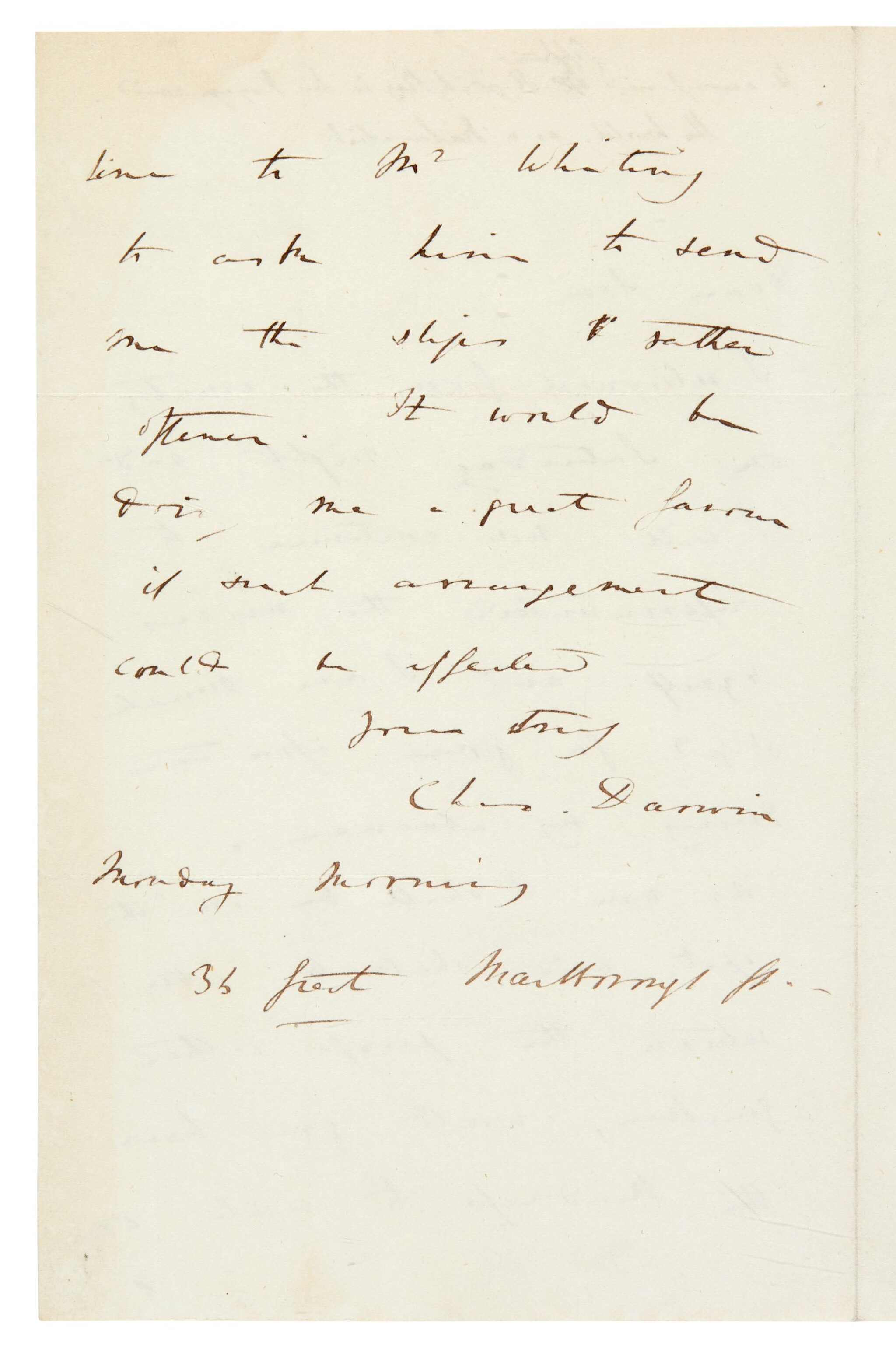 View full screen - View 1 of Lot 23. DARWIN   autograph letter signed, to Henry Colburn, [1837].