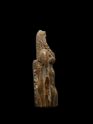 View 2. Thumbnail of Lot 50. An Egyptian Fragmentary Brown Steatite Figure of Hathor, Ptolemaic Period, 305-30 B.C..
