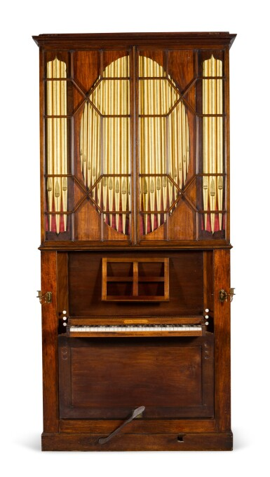 View 1. Thumbnail of Lot 167. A George III mahogany chamber organ by Hugh Russell, 1780.