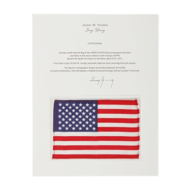 View 1. Thumbnail of Lot 192. [APOLLO 16]. FLOWN TO THE LUNAR SURFACE ON APOLLO 16. UNITED STATES OF AMERICA FLAG FROM THE COLLECTION OF JOHN YOUNG.