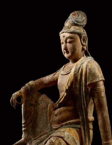 View 2. Thumbnail of Lot 8002. A magnificent and extremely rare large wood sculpture of Avalokiteshvara, Song dynasty   宋 木雕加彩觀世音菩薩坐像.