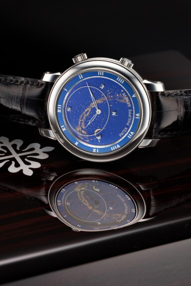 View 1. Thumbnail of Lot 178. REFERENCE 5102G-001 CELESTIAL A WHITE GOLD AUTOMATIC ASTRONOMICAL WRISTWATCH WITH SKY CHART, PHASES AND POSITION OF THE MOON, AND TIME OF MERIDIAN PASSAGE OF SIRIUS, MADE IN 2003.
