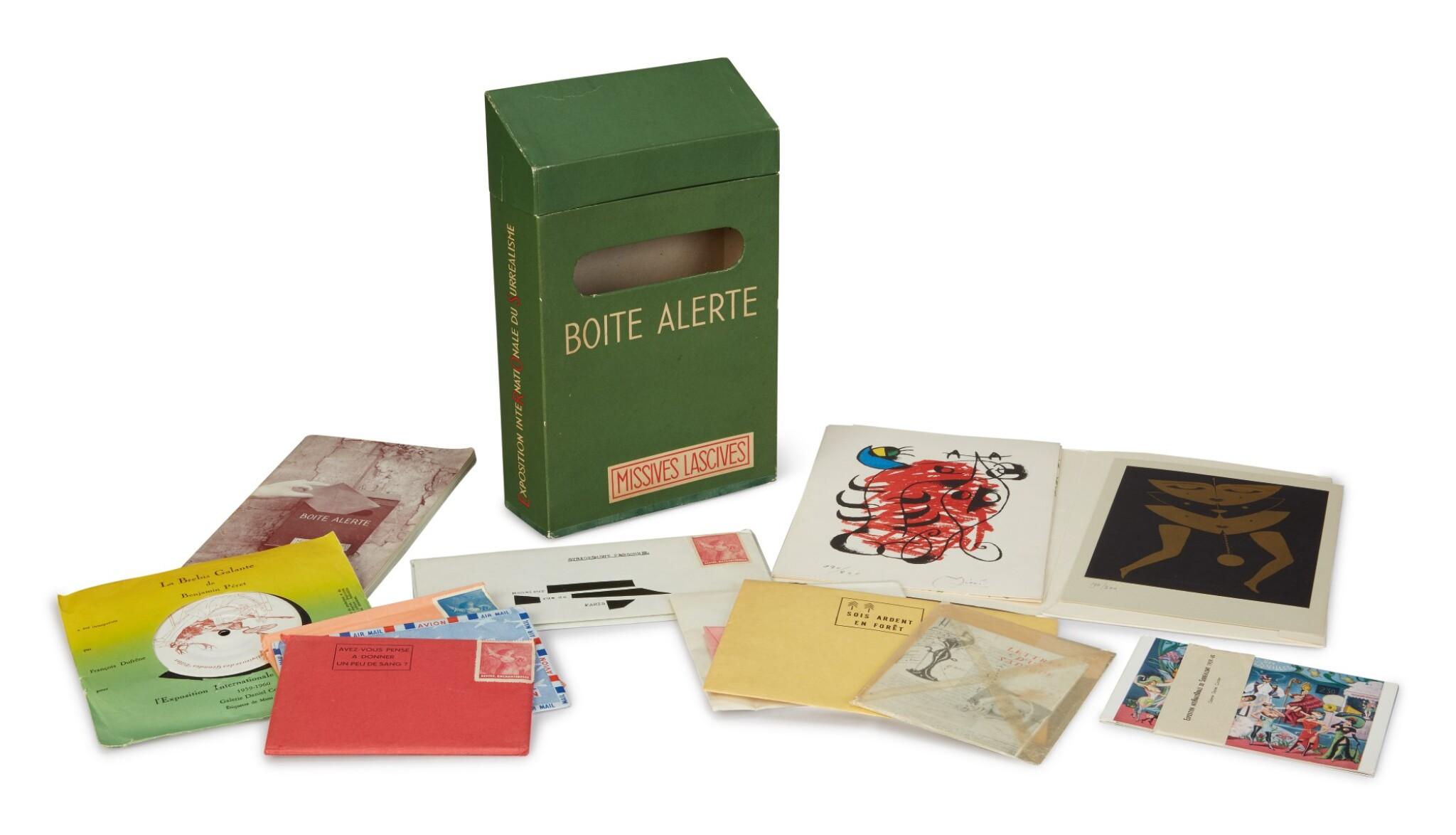 View full screen - View 1 of Lot 16. BOÎTE ALERTE. MISSIVES LACIVES. EXPOSITION INTERNATIONALE DU SURREALISM (EROS). PARIS: GALERIE DANIEL CORDIER, 1959.