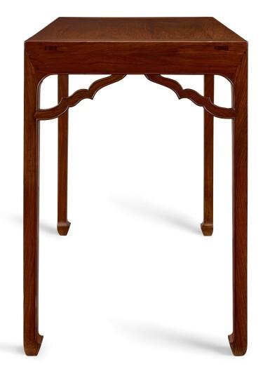 View 2. Thumbnail of Lot 47. A PAIR OF HUANGHUALI RECTANGULAR CORNER-LEG TABLES, TIAOZHUO MING DYNASTY, EARLY 17TH CENTURY   明十七世紀初 黃花梨如意角牙馬蹄足四平條桌成對.