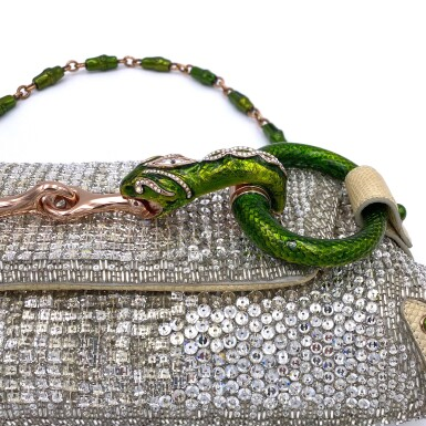 View 4. Thumbnail of Lot 707. GUCCI   TOM FORD SERPENT HEAD CLUTCH BAG IN LIZARD WITH SWAROVSKI CRYSTALS.