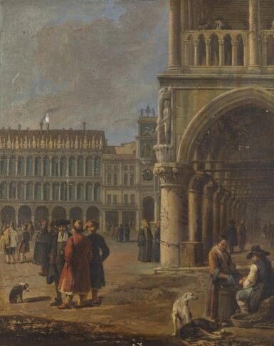 LUCA CARLEVARIJS | Venice, a view of a corner of St. Mark's Square, with peasants and dogs to the right and other figures, some in oriental dress, to the left | 盧卡・卡萊瓦里斯 | 《威尼斯,聖馬可廣場一隅景觀,右見農民與狗,左見身穿東方服裝的人物》