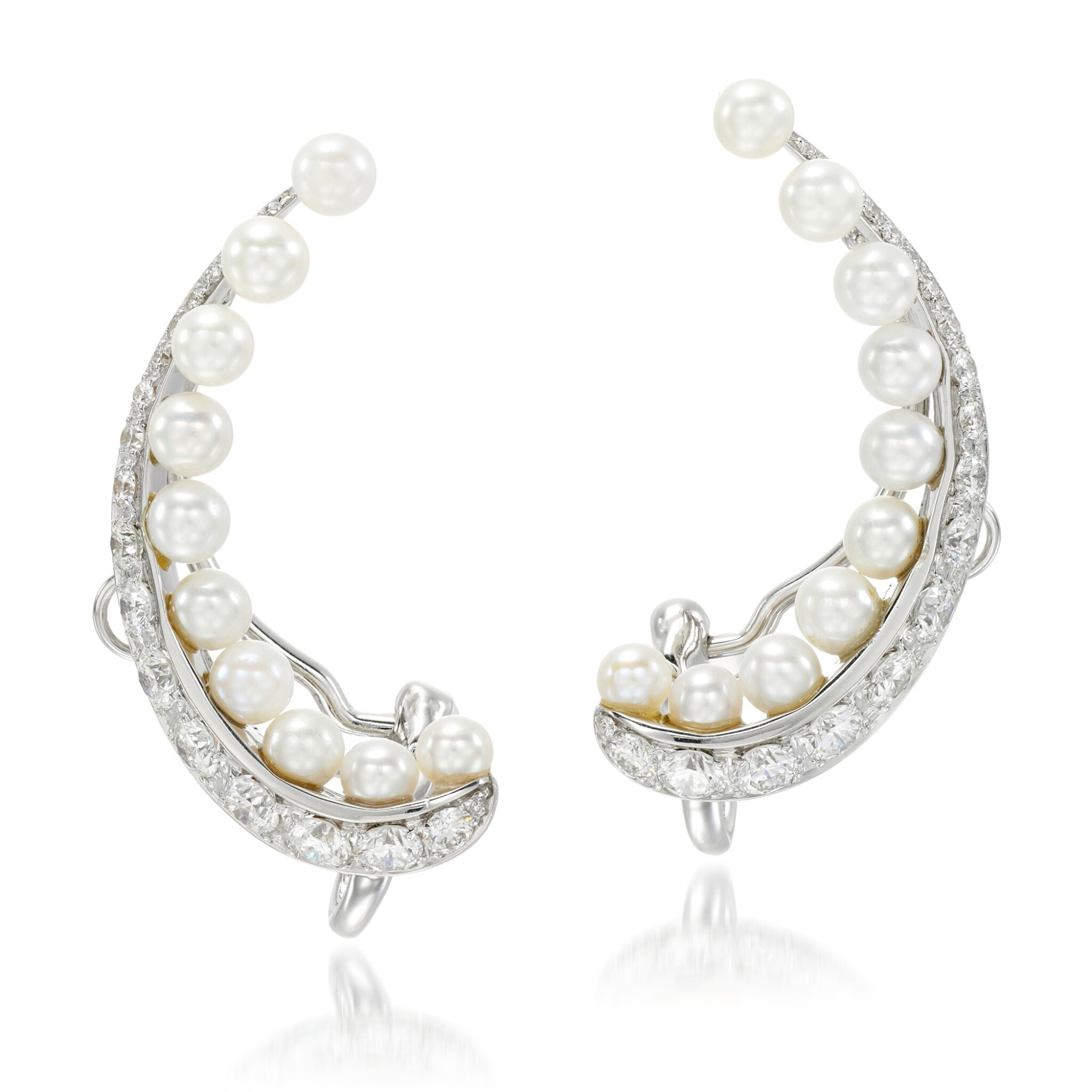View 1 of Lot 25. Pair of cultured pearl and diamond ear clips, 'Pearl Rose'.